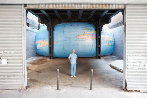 David Byrne put speakers inside a 48-by-20-foot inflatable globe pumped up against the High Line in New York City and is playing a weird soundtrack that he made from recording sounds coming from his mouth that he then manipulated electronically so you can't tell what they are. Cool.