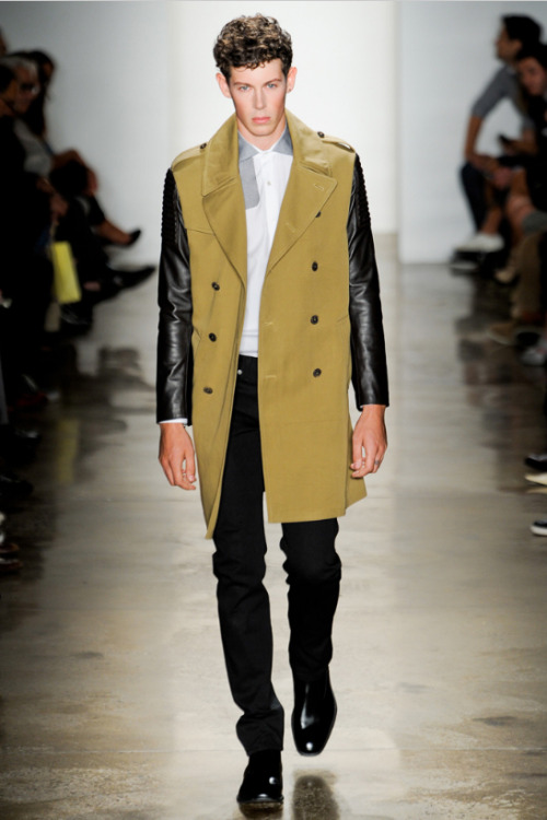 "Editor's Pick From Simon Spurr: ""Utilitarian meets rock and roll. This khaki trench has it all!""—Lance Lin, GQ fashion editor Check out all of our editors' picks from New York Fashion Week here."
