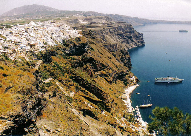 | ♕ |  Cliff top towns - Fira view from Oia  |  by Sheldon Wood