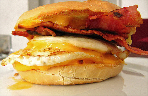 look-do-not-touch:  Bagel, Egg, Cheese and Turkey Bacon (by jennifervagios)