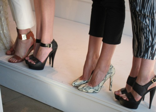 Rachel Zoe's Spring 2012 shoes included sporty flat sandals, fierce platforms and snakeskin lady pumps. Quite the spectrum!