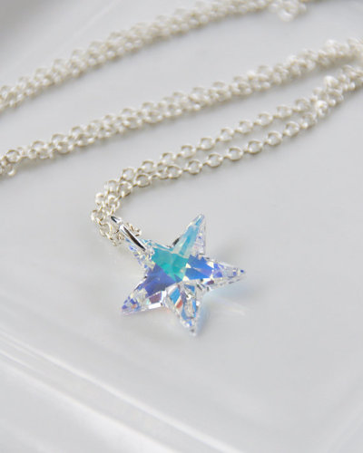 littlefever:  Shooting Star Necklace - Aurora Borealis Swarovski Crystal Drop Pendant on Silver Plated Chain AB Sparkly Blue Yellow (via Shooting Star Necklace Aurora Borealis Swarovski by littlefever)  Again a great piece from Little Fever. I quite like Swarovski stars - I even decorate my x-mas tree with about a dozen of them