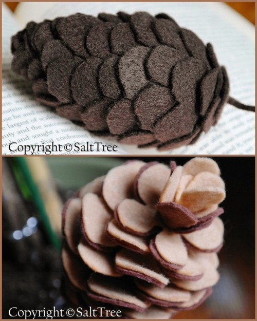 truebluemeandyou:  DIY Felt Pinecone Victor (on top) and Harry (below). Great tutorial from Salt Tree here for Victor. Harry the Pinecone is here. I am starting to fall in love with felt because it is so cheap and you can do so many wonderful things with it :)