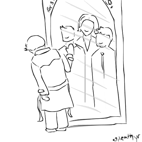 heathyr:  A silly ten minute doodle of Cas looking into the Mirror of Erised.