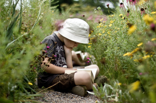 teachingliteracy:  reading in the flowers.  by S V Giles