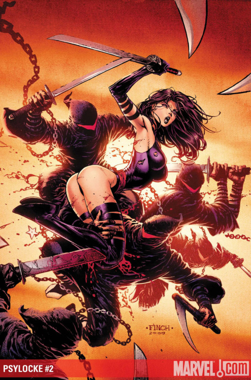 Poor Psylocke, she gets so abused by artists.  Here, it looks like somebody took a chunk out of her back, plus there's that butt/boobs pose again… and where's her other arm? xD