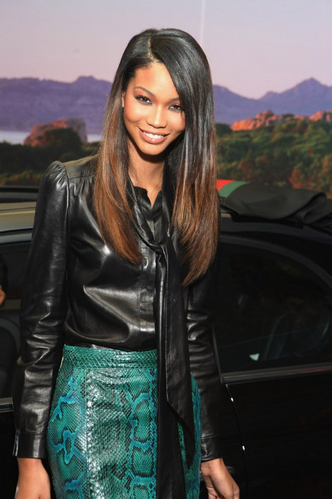 Chanel Iman in Gucci on Fashion's Night Out 2011 at Gucci Fifth Avenue