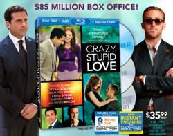estoners:  The ensemble comedy Crazy, Stupid, Love featuring Steve Carell, Ryan Gosling, Julianne Moore, Emma Stone,  Marisa Tomei and Kevin Bacon is coming to a Blu-ray and DVD combo pack  release on November 1.  Crazy, Stupid, Love was a late summer release on July 29 featuring Carell in his first big theatrical role since signing off from NBC's The Office. Produced for $50 million, the film went on to earn just under $100 million at the worldwide box office. Details are still sparse on the Crazy, Stupid, Love Blu-ray bonus features. There will be deleted scenes, but that's the only supplement confirmed at this time.