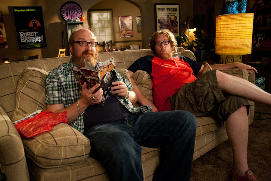 I just found this adorable still of Brian Posehn and Steve Agee from the last season of The Sarah Silverman Program. Copyright Robyn Von Swank.