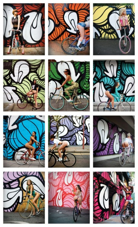 "Insa UK artist, ""Girls on Bikes"" exhibition .  Really Dope, most shots from London, some from San Francisco,Hong Kong,Los Angeles. Kicks, Dimes, Graf…..  Doesn't get better…."