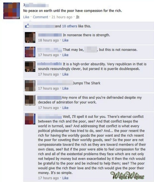 whitewhine:  I think he's got a point!  Imagine the last paragraph read aloud by Edward G. Robinson.  Then imagine Edward G. Robinson shooting the paragraph's author.