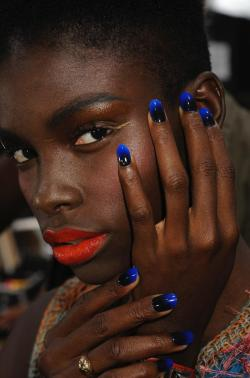 "beautylish:  Check out how to get these ""Lethal Love"" gradient nails seen on the Jen Kao Spring/Summer 2012 runway at New York Fashion Week! They were inspired by poisonous frogs! (Image courtesy of CND)"