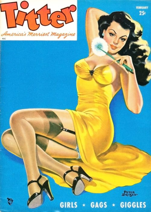 theniftyfifties:  Pin up art by Peter Driben on the cover of Titter magazine, 1955.  Wait, what? You mean that's not what this is supposed to be?
