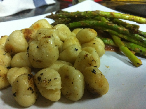 Gnocchi with grilled asparagus.