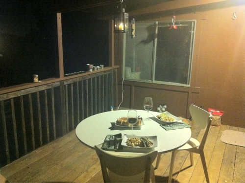 Table set on the deck of our new house!