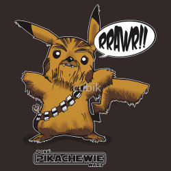 justinrampage:  If Pokemon and Star Wars had a baby, it would produce this fuzzy-looking nerf-herder Pikachewie. Rob Wood's new shirt is now on sale at RedBubble. Related Rampages: Guns 'N' Portals | Jedimaster (More) Poké Wars: Pikachewie by Rob Wood (RedBubble) (Facebook) (Twitter) Via: robpwood | the-rbc