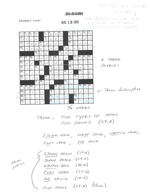 "How Will Shortz Makes a New York Times Crossword Puzzle  ""Every crossword in the Times is a collaboration between the puzzle-maker and the puzzle editor. On average, about half the clues are mine. I may edit as few as five or ten percent of the clues, or as many as 95 percent for someone who does a great puzzle but not great clues. Why accept a puzzle when I'm going to edit 95 percent of the clues? Well, if someone sends me a great puzzle with an excellent theme and construction—you want fresh, interesting, familiar vocabulary throughout the grid—I feel it would be a shame to reject it on account of the clues, because I can always change them myself. This puzzle came from Elizabeth Gorski, one of the pros. Liz is great at putting fresh entries at the short spaces of a grid. That's very hard to do. There was one thing about the construction I didn't like, and that was at 35 Down. The answer was LORELAI, and the sirens on the Rhine are of course ""Lorelei,"" with an ""e-i."" Liz's clue was Rory's mom on Gilmore Girls, and I didn't think followers should have to know that. Sometimes I'll do little fixes myself. But this was big enough that I asked her to revise the grid. You can see the new letters in blue, where I've amended the manuscript. Then the puzzle is accepted. I earmarked it for a Wednesday, because the theme consists of straight-forward English, but it's a little playful.""  Read more at The Atlantic"