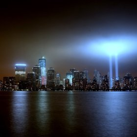 Awesome photo of the Tribute of lights NYC 9-11-11 by Billy Mc Kim