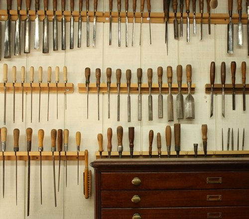 Lineup of tools from the woodworking shop of Daniel W. Santos Fine Furniture