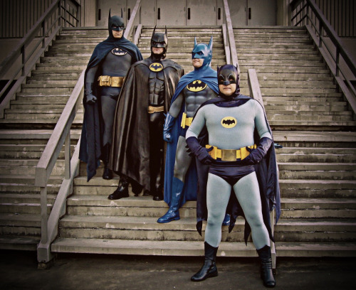 comicbookcosplaymen:  Me and a few of my buddies. (I'm the blue Batman, second from the bottom). So much WIN.