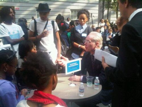 Tim Gunn chats it up with local D.C. Students at the Teen Design Fair hosted by First Lady Michelle Obama and the Cooper-Hewitt, National Design Museum. Take an early peek at our Master's of Design issue with Cooper-Hewitt Director, Bill Moggridge on the National Design Museum's design problem. (Photo via Fast Company on Facebook)