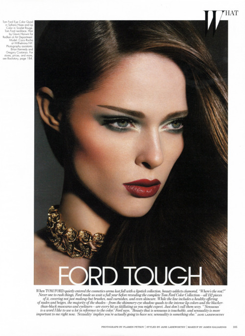 TOM FORD COSMETICS - W Magazine, October 2011It was a truly a pleasure to shoot this picture with legendary makeup artist James Kaliardos, showcasing Mr. Ford's newest makeup line 'The Tom Ford Color Collection.' Find out more in the latest issue of W magazine.