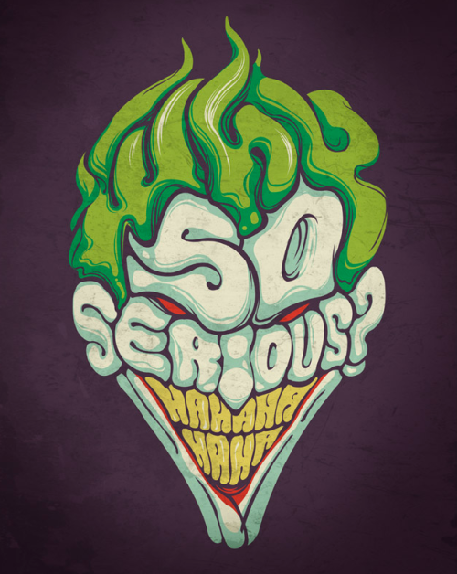 justinrampage:  The Joker is a horrible type of person, but this typographic shirt design by Edno Pereira is no joke. Vote now at Threadless to see it print. Related Rampages: Be Fast v2 |  Ape Kong (More) A Type of Joke by Edno Pereira (deviantART) (Flickr) (Twitter) Via: threadless