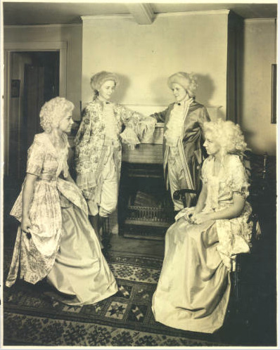 "Best Loved women, 1937 In a tradition in place for several decades at Lawrence University in Appleton, the four senior women voted ""Best Loved"" by their classmates attended a banquet dressed in costume as George and Martha Washington and James and Dolly Madison. At the first ""Best Loved"" banquet in 1924, guests offered toasts to the Boston Tea Party, Valley Forge and the framing of the Constitution.  via: Lawrence University Archives Digital Collections read more: Judy Dixon, ""Best Loved,"" Lawrence University News Bureau, 1967 by way of Lawrence University Archives"