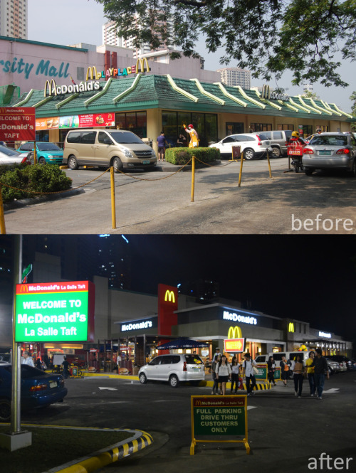 charmainealday:  laboh:  Mcdo Lasalle Taft - Before and After :))  hello? pati UM.   LUCKY Students!! So now i'm missing taft.