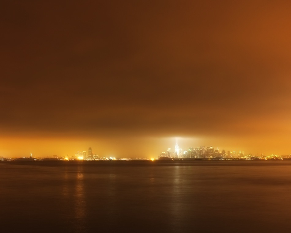 NYC and NJ on the night of 9/11/2011, as seen from the 69th Street Pier in Bay Ridge, Brooklyn. Shot with Fuji X100.