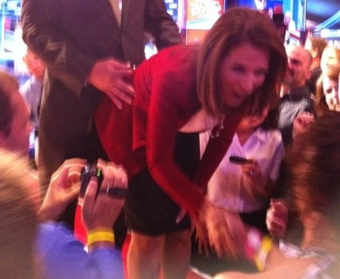 thedorseyshawexperience:  Michele Bachmann gets a sneak attack on the booty crack. But WHO IS THAT MAN?   Amazing.
