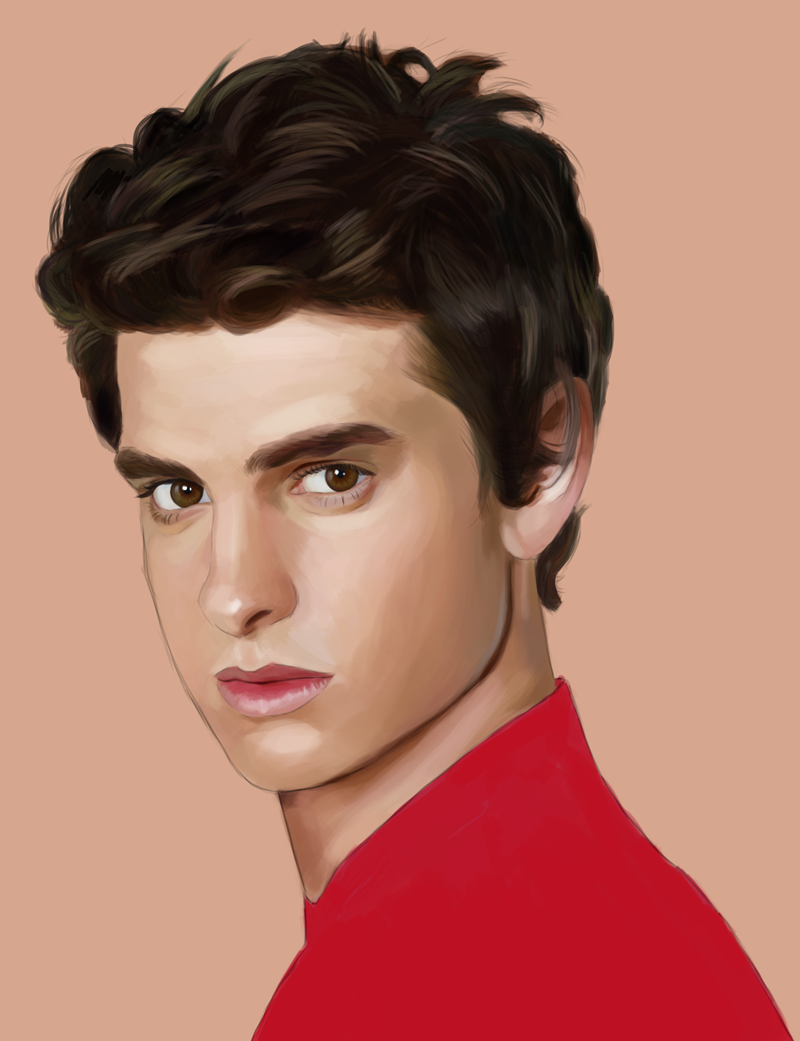 Another work in progress picture of Andrew Garfield as painted in my livestream!
