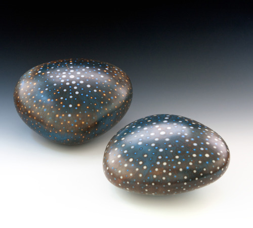 "Mark Goudy: Two Pods - closed forms, left: Pod (m85) 11""w x 5.5""h; right: Pod (m84) 9.5""w x 4.5""h"