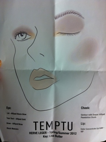 Face chart for the Herve Leger beauty looks so you know exactly what Temptu products to use. Photographed by Jane Shin Park.