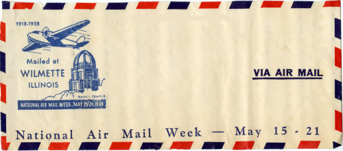 From 1938, an Air Mail cancel that features the Baha'i House of Worship in Wilmette.  This photo is a copy in the Baha'i Archives.