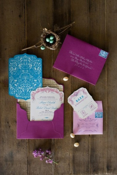 lacedinweddings:  Purple and Blue Theme Wedding Invitations These colors go great with a peacock themed wedding as well.
