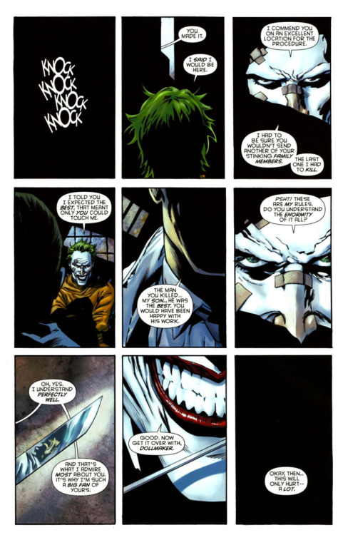 The Joker gets his face cut off.  I like the Joker because he's so fucking insane and terrifying. Probably the most of all DC villains.