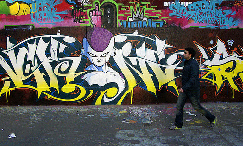 albotas:  Daily Graffiti: Frieza Graffiti Spotted in Paris Since today is Dragon Ball Z's 15th anniversary here in the states, I figured this piece featuring arguably the greatest DBZ villain of all time was more than fitting. Check out the DAILY GRAFFITI ARCHIVES for more geektastic street art!  I think most fans would say that Cell was a far better villain.  Not that the Frieza saga wasn't cool and all, but come on, the Cell games were fucked.