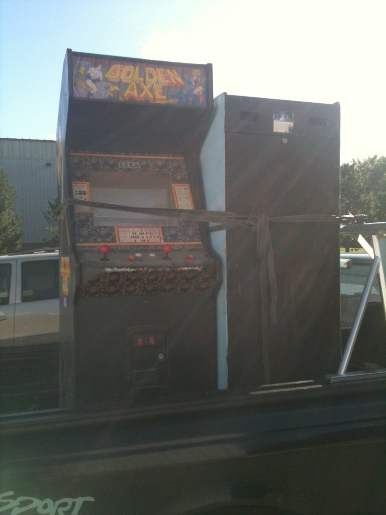 My 2 new arcade project pick ups! Golden Axe and a nintendo cab.