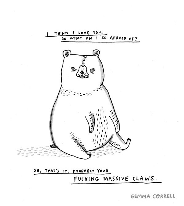 "I prefer cats. Tiny claws, you know… Illustration by ©gemmacorrell ""So what am I so afraid of?"""