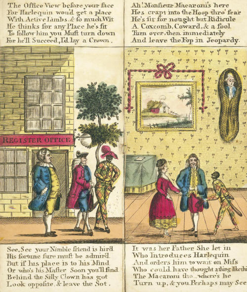 JUVENILE FLAP-BOOK  The Pigmy Revels, or Harlequin Foundling, drophead title, engraved throughout, 4 full-page hand-coloured engraved illustrations, each with two hand-coloured tipped on engraved flaps changing the scene at head and foot, publisher's orange wrappers, title label on upper cover, wrapper slightly soiled and worn at edges, very small folio (190 x 80mm.), modern card slipcase, RARE, G. Martin, [c.1775]  Footnote: No other copy traced with this imprint. Worldcat describes a work with the same title and similar format published by William Tringham in 1773.