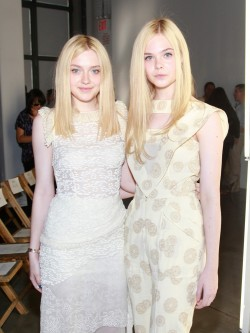 suicideblonde:  Dakota and Elle Fanning at the Rodarte Spring 2012 show today