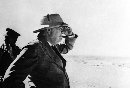 Winston Churchill on a trip near El Alamein, Egypt to inspect Allied forces during WWII. August 19, 1942.