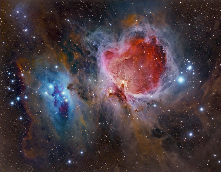 Great Orion Nebulae  Explanation: The Great Nebula in Orion, also known as M42, is one of the most famous nebulas in the sky. The star forming region's glowing gas clouds and hot young stars are on the right in this sharp and colorful image that includes the smaller nebula M43 near center and dusty, bluish reflection nebulae NGC 1977 and friends on the left. Located at the edge of an otherwise invisible giant molecular cloud complex, these eye-catching nebulae represent only a small fraction of this galactic neighborhood's wealth of interstellar material. Within the well-studied stellar nursery, astronomers have also identified what appear to be numerous infant planetary systems. The gorgeous skyscape spans nearly two degrees or about 45 light-years at the Orion Nebula's estimated distance of 1,500 light-years.  Image Credit & Copyright: Jesús Vargas (Astrogades) & Maritxu Poyal (Maritxu)