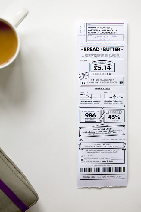 "I would simply love to get a receipt like this! I'm convinced this would appeal to a number of people, as I'm certain I'm not the only one who would be fascinated by the random stats obtained on such a receipt. One challenge I can immediately envisage is the need for a wide variety of stats to be displayed, so they don't get repetitive. productdesignfreak:  London design consultancy BERG have proposed a redesign of the standard till receipt, transforming the  usually dull printout with infographics about purchases.Data is extracted from cash registers to turn the receipt into a paper ""app"" that is informative and context specificThe example pictured here shows a lunch receipt that displays total  number of calories, percentage of RDA and other information relating to  the food consumed.Tick boxes give returning customers the ability to customise their next receipt."