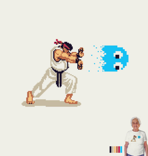 it8bit:  Hadouken! - by Rafael Bastos Up for voting at threadless. flickr || website || society6 || twitter  This is brilliant.