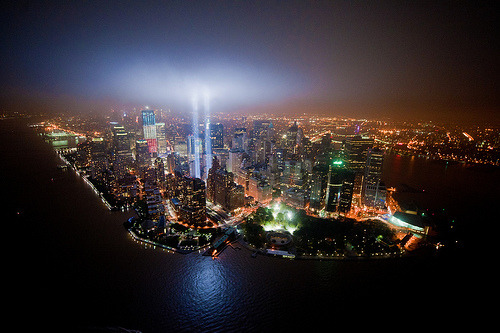hopstop:  black-wolves:  Bird's-eye view of Tribute In Lights by noamgalai  One of the more striking pictures we've seen of the 9/11 Tribute in Light.  Thanks ;) Dont forget you can get a canvas print of it here: http://noamgalai.com/store.htm