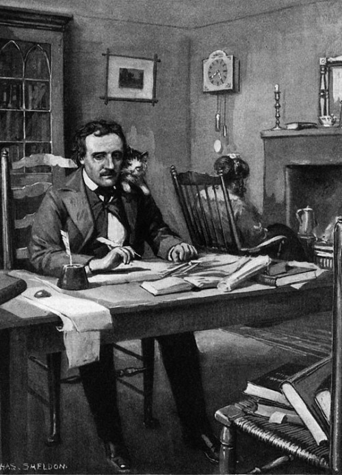 Edgar Allan Poe and kitty conspiring together.