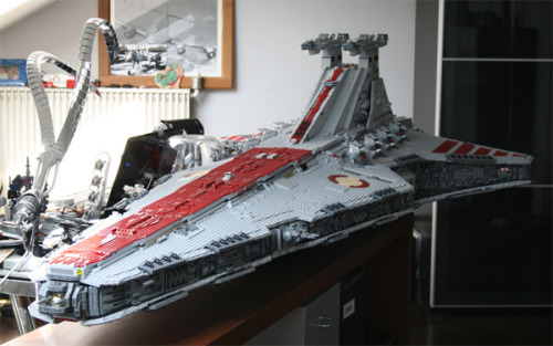 A Venator Class Star Destroyer - the mainline cruiser used by the Old Republic during the Clone Wars - built entirely out of LEGO. The Kuat Drive Yards obviously built this as a scale test model before putting the prototype into production.