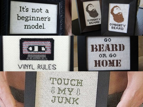 truebluemeandyou:  Manly Cross Stitch by Matthew Monthei. Found at Craftzine in an interview by Julie Jackson here. Mr. Monthei also has a flickr site The Craft Boner Club here and an Etsy Store named MANJUNK here (where the bottom image was taken from). Lots of manly cross stitch examples at all these sites - you have to check out the photos I did not post.  OH  HEY. LOOKIT…IT'S MY JUNK!  Thanks for the love, True Blue! Gosh, I should Google myself more often!